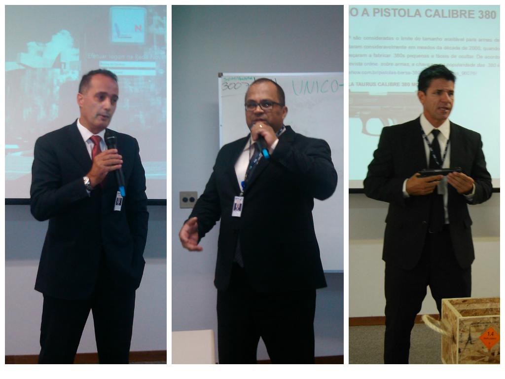 Dr. Delfim, MAJ Ramos e 1º SGT Danúbio