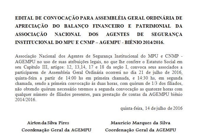 EDITAL DE CONVOCAÇÃO PARA ASSEMBLÉIA GERAL ORDINÁRIA FINANCEIRA